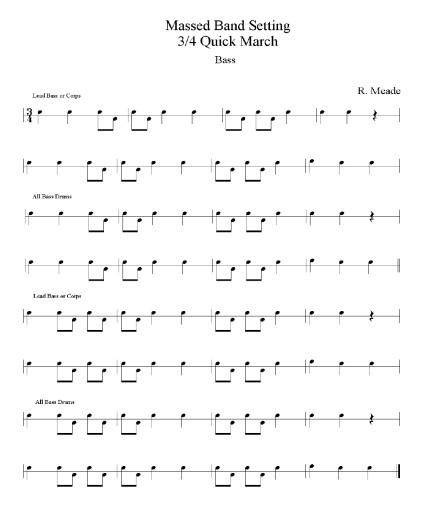 EUSPBA Bass Drum Massed Band 3-4 Score