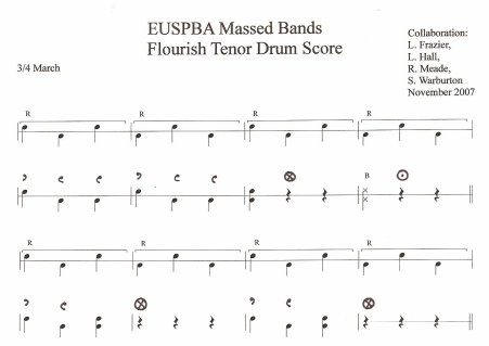 EUSPBA Tenor Drum Massed Band 3-4 Score